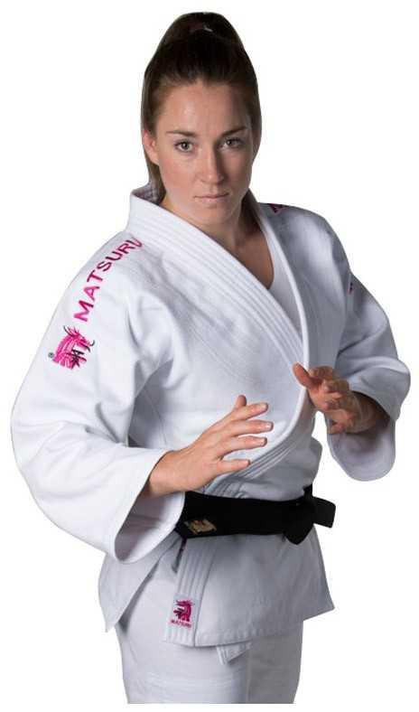 Matsuru Judopak Semi Wedstrijd wit met roze schouderlabel
